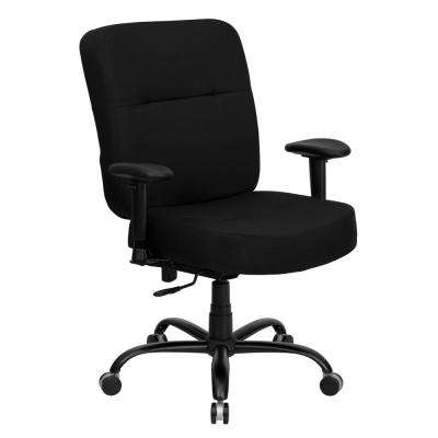 Big and Tall High Back Black Fabric Executive Swivel Ergonomic Office Chair with Rectangular Back and Adjustable Arms