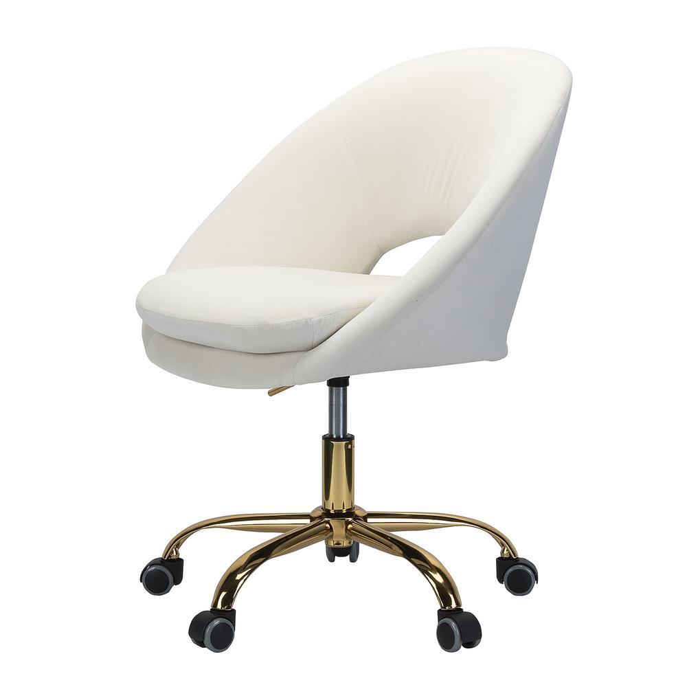 Savas Ivory Velvet Swivel Task Chair