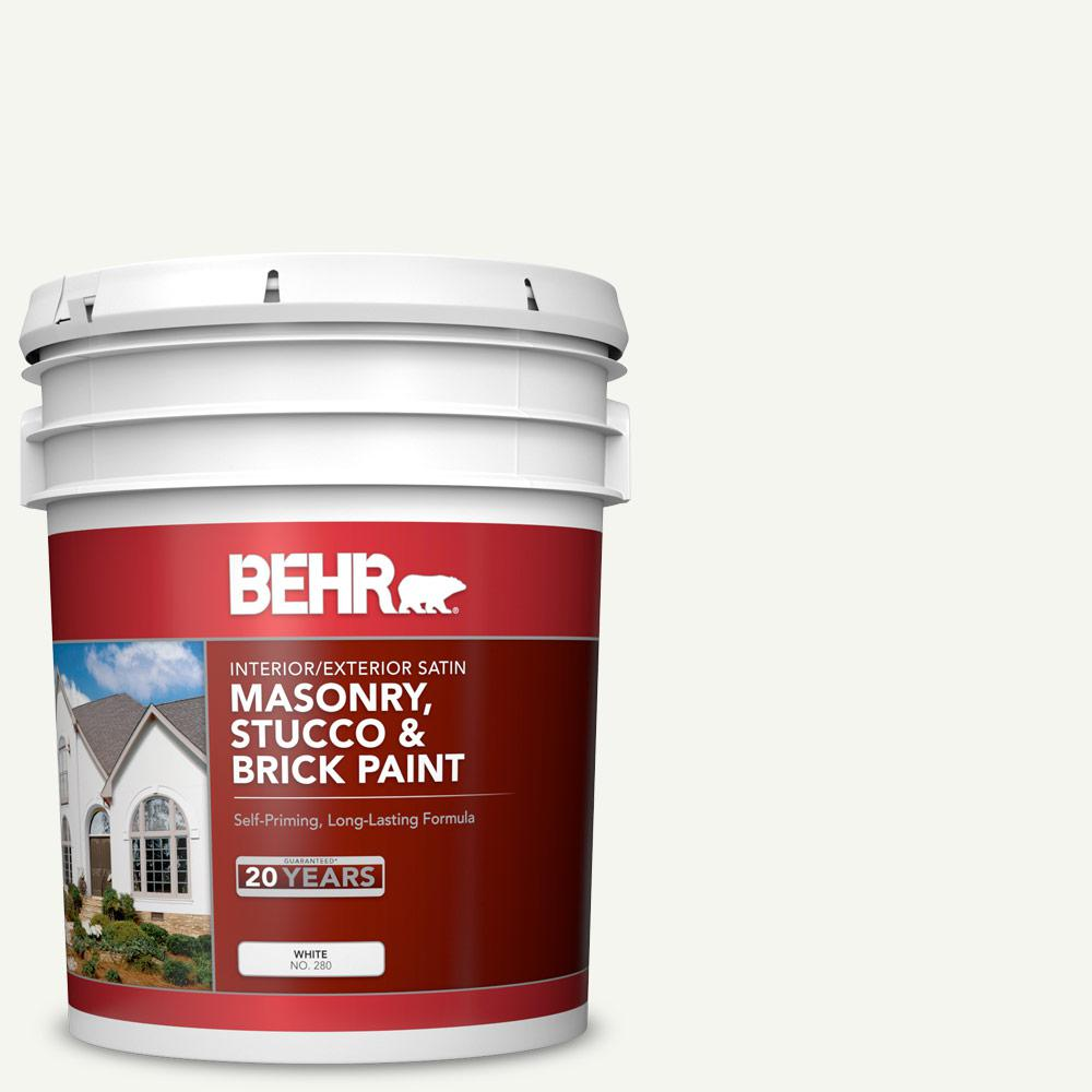 BEHR 5 gal. #MS-31 White Satin Interior/Exterior Masonry, Stucco and Brick Paint