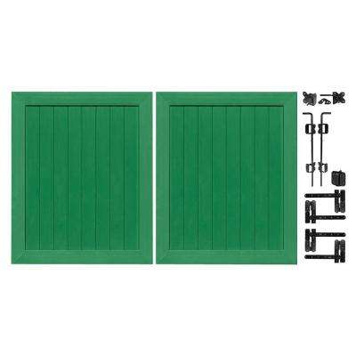 Pro Series 5 ft. W x 6 ft. H Green Vinyl Anaheim Privacy Double Drive Through Fence Gate