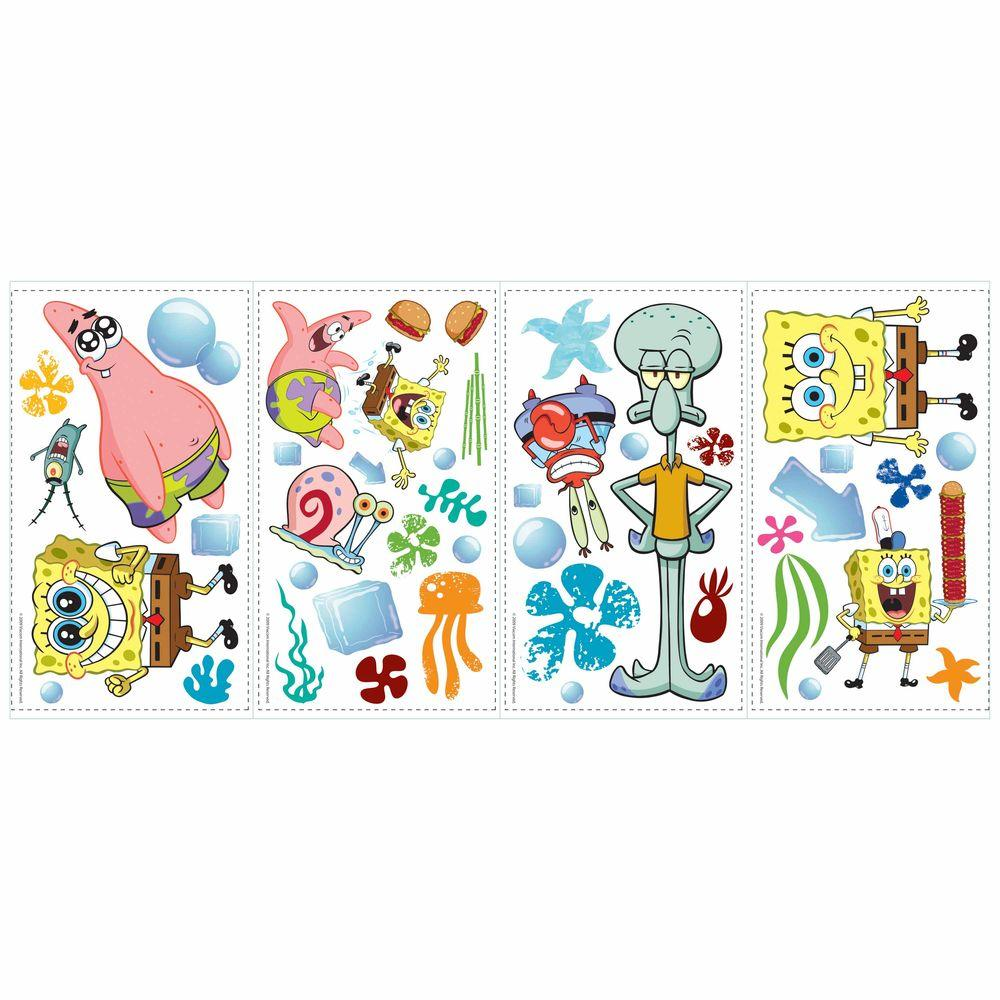 RoomMates 5 in. x 11.5 in. SpongeBob Square Pants Peel and Stick ...