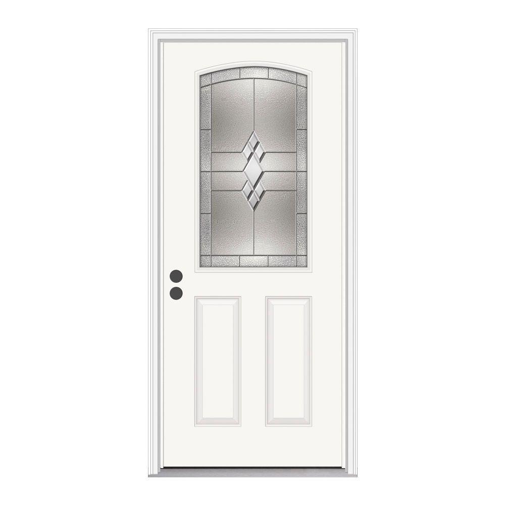 JELD-WEN 36 in. x 80 in. 1/2 Lite Kingston Primed Steel Prehung Right-Hand Inswing Front Door w/Brickmould