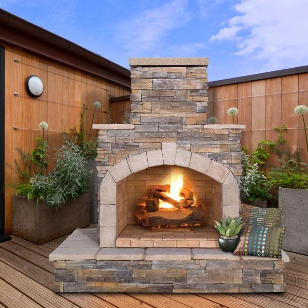 Cal Flame 78 In Brown Stone Veneer Propane Gas Outdoor Fireplace Frp908 3 Apf The Home Depot
