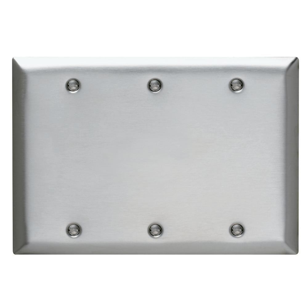 Legrand Pass & Seymour 302/304 S/S 3 Gang 3 Box Mounted Blank Wall Plate, Stainless Steel (1-Pack)