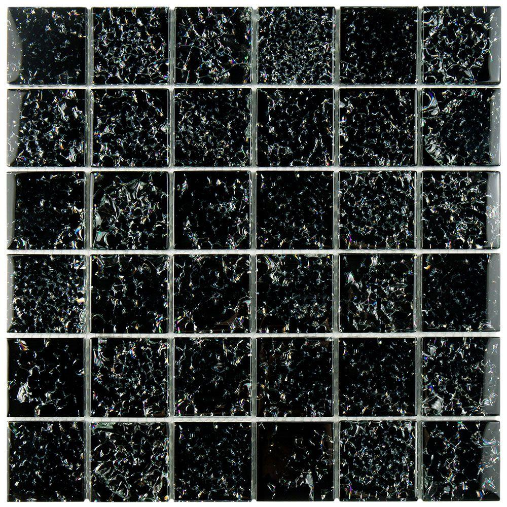 Merola Tile Stark Crackle Black 11 3 4 In X 11 3 4 In X 8 Mm Glass
