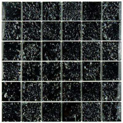 Stark Crackle Black 11-3/4 in. x 11-3/4 in. x 8 mm Glass Mosaic Tile