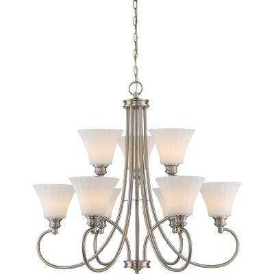 9-Light Brushed Nickel Chandelier with Frosted Fluted Glass Shade