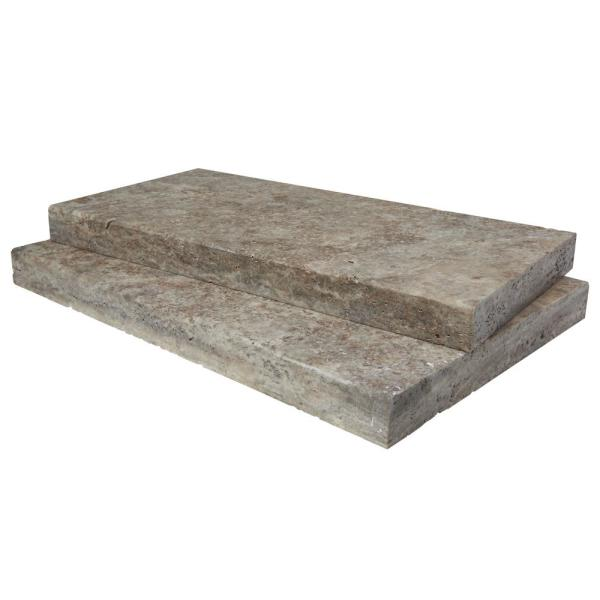 Silver 16 in. x 24 in. Gray Travertine Pool Coping (10-Piece - 26.7 Sq. Ft. / Pallet)