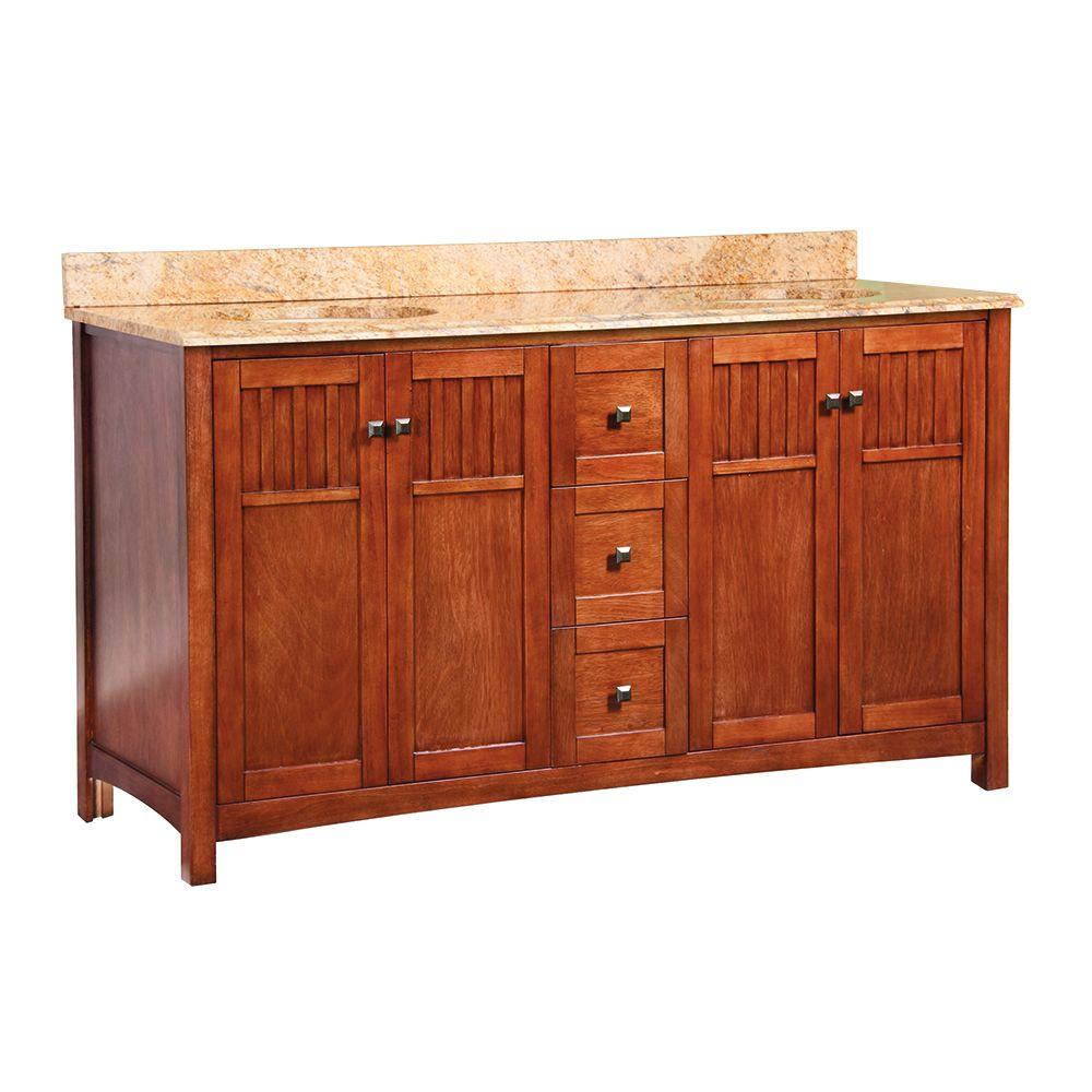 Foremost Knoxville 61 in. W x 22 in. D Vanity in Nutmeg with Stone Effects Vanity Top in Tuscan Sun