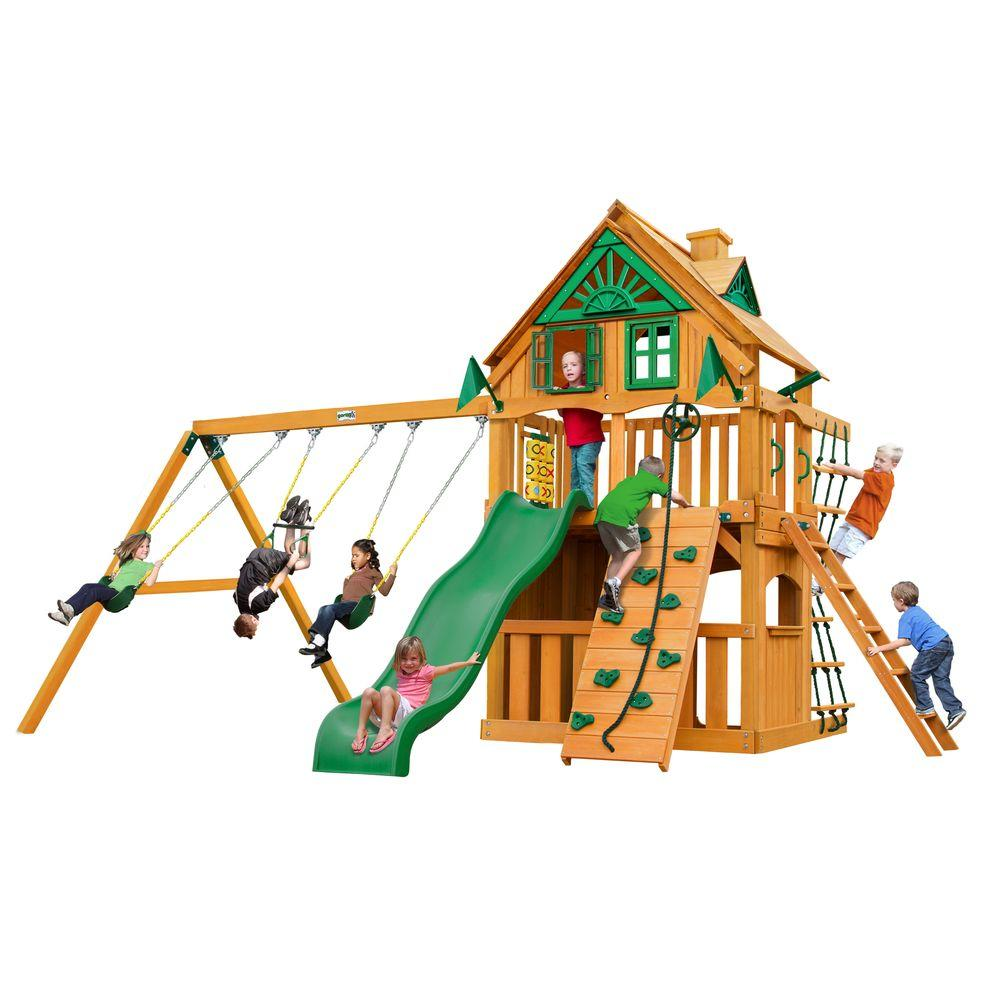Chateau Clubhouse Treehouse Swing Set with Amber Posts