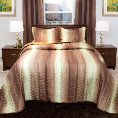 Striped 3-Piece Chocolate and Taupe Metallic Queen Comforter Set