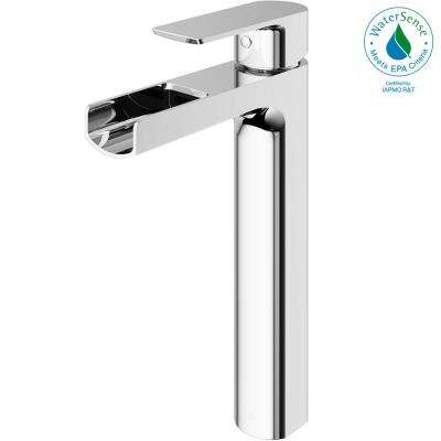 Amada Single Hole Single-Handle Vessel Bathroom Faucet in Chrome