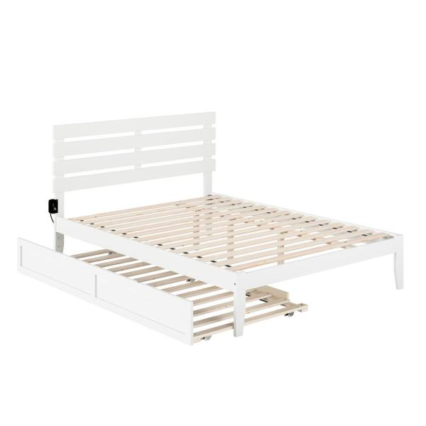 Atlantic Furniture Oxford Queen Bed, White Trundle Bed Queen