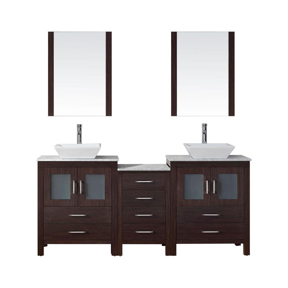 Virtu USA Dior 67 in. W Bath Vanity in Espresso with Marble Vanity Top in White with Square Basin and Mirror and Faucet