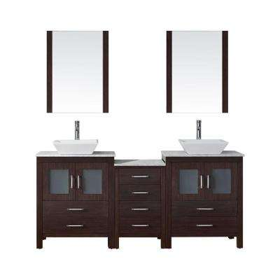 Dior 67 in. W Bath Vanity in Espresso with Marble Vanity Top in White with Square Basin and Mirror and Faucet