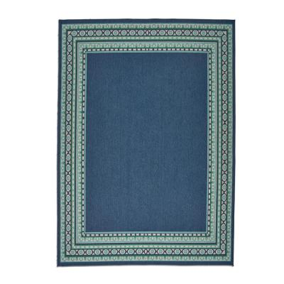 Madolyn Navy and Green 8 ft. x 11 ft. Border Indoor/Outdoor Area Rug