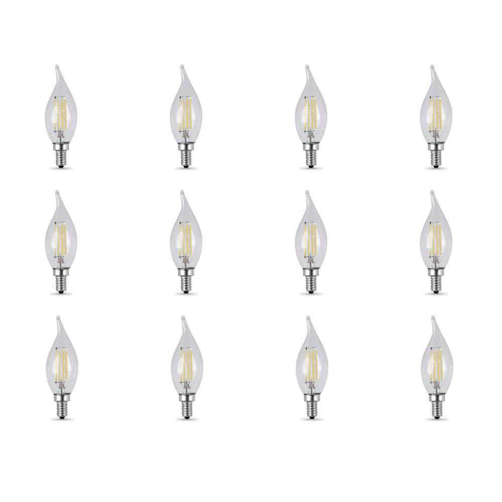 25-Watt Equivalent (2700K) CA10 Candelabra Dimmable Filament LED Clear Glass