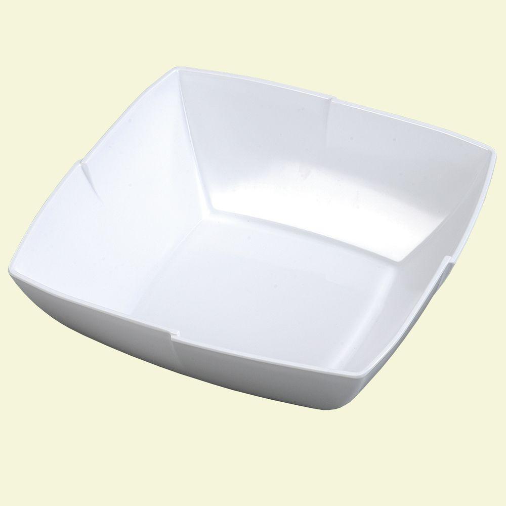 Carlisle 12 in. Square White Melamine Displayware Salad/Berry Bowl (Set of