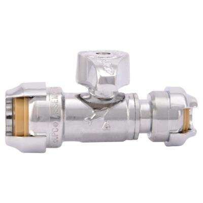 1/2 in. Chrome-Plated Brass Push-to-Connect x 1/4 in. Push-to-Connect Quarter-Turn Straight Stop Valve