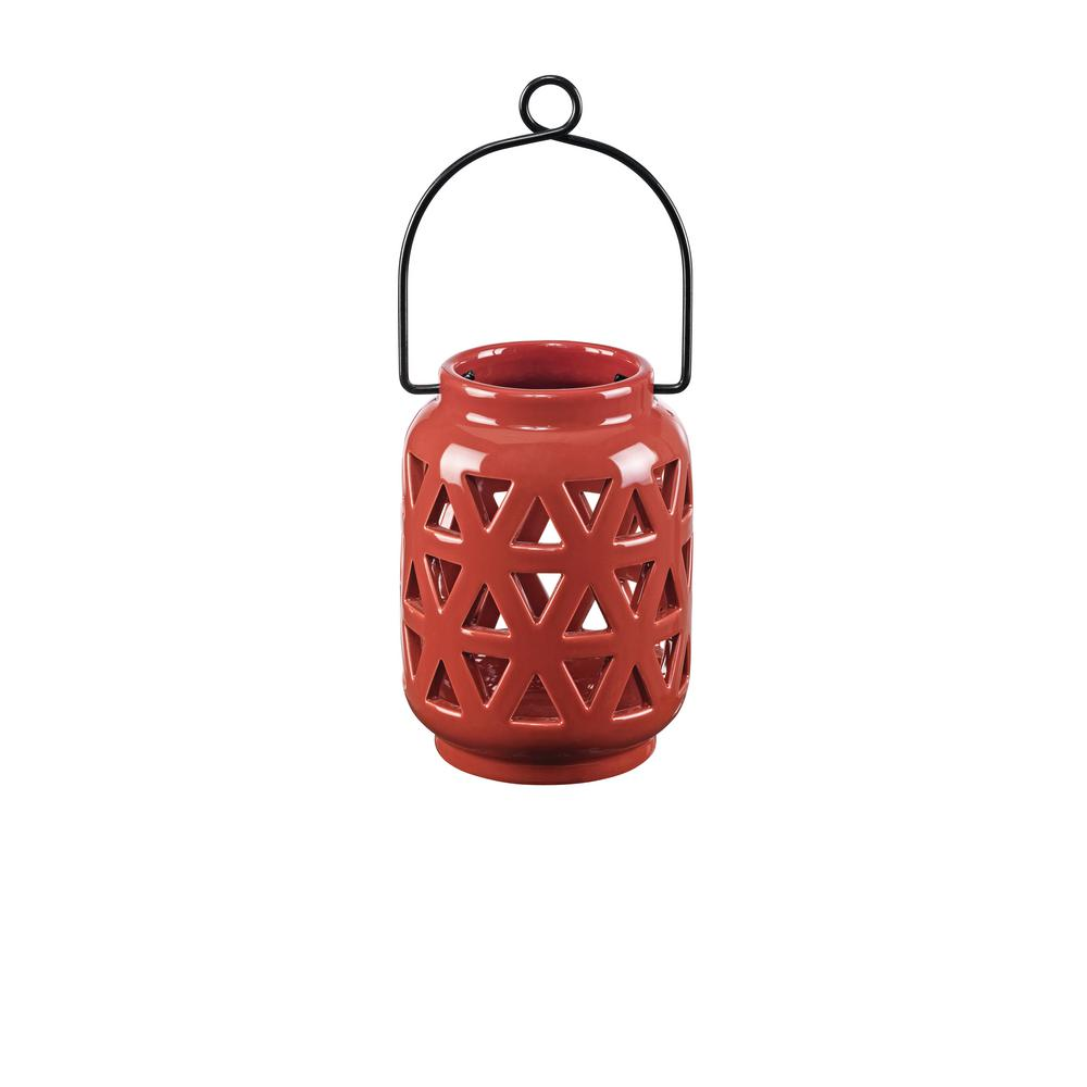 4.64 in. Ceramic Lantern in Chili