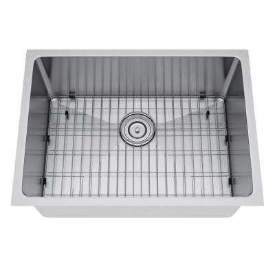 All-in-One Undermount Stainless Steel 25 in. Single Bowl Kitchen Sink
