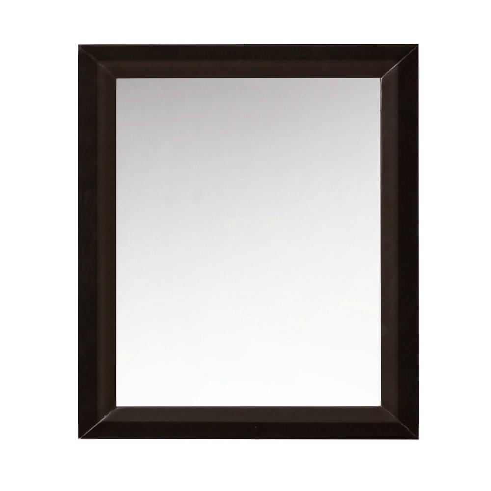 28 in. Framed Single Mirror in Espresso