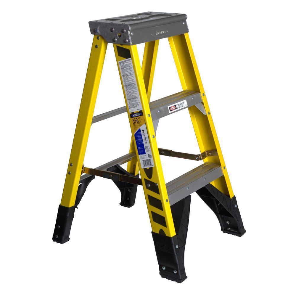 3 ft. Fiberglass Step Ladder with 375 lb. Load Capacity Type IAA Duty Rating