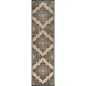 Tulsa Oracle Traditional Persian Medallion Blue 2 ft. 7 in. x 9 ft. 10 in. Runner Rug