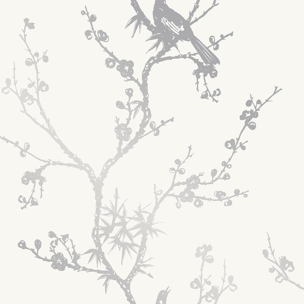 Cynthia Rowley for Tempaper Bird Watching White and Silver Self-Adhesive