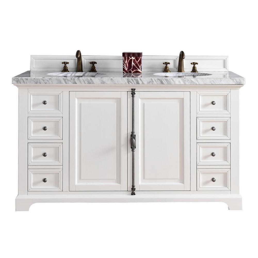 James Martin Signature Vanities Providence 60 In W Double Vanity Cottage White With Marble Top Carrara Basin