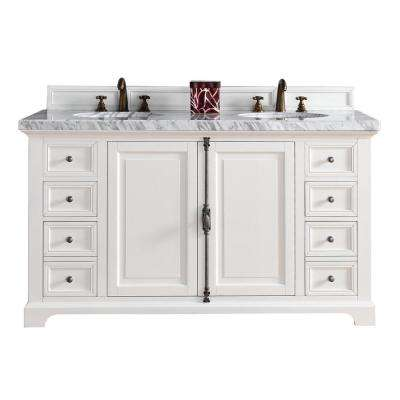 Providence 60 in. W Double Vanity in Cottage White with Marble Vanity Top in Carrara White with White Basin