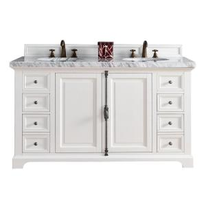 James Martin Signature Vanities Providence 60 inch W Double Vanity in Cottage White with Marble Vanity Top in Carrara... by James Martin Signature Vanities