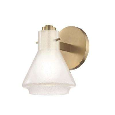 Rosie 1-Light Aged Brass Bath Light with Clear Glass Outside Etched Glass Inside