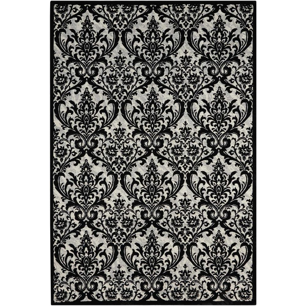 Nourison Damask Black White 8 Ft X 10 Ft Area Rug 341389 The