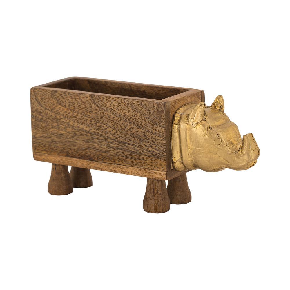 Rhino 11 in. x 5 in. Wood and Metal Decorative Box