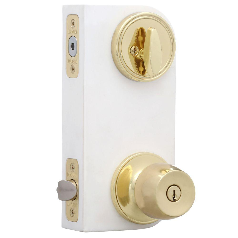Brandywine Polished Brass Entry Knob and Single Cylinder Deadbolt Combo