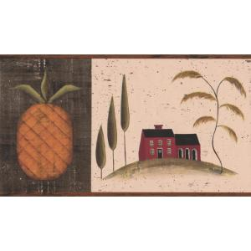 Vintage House On Hill Pinele Retro Prepasted Wallpaper Border