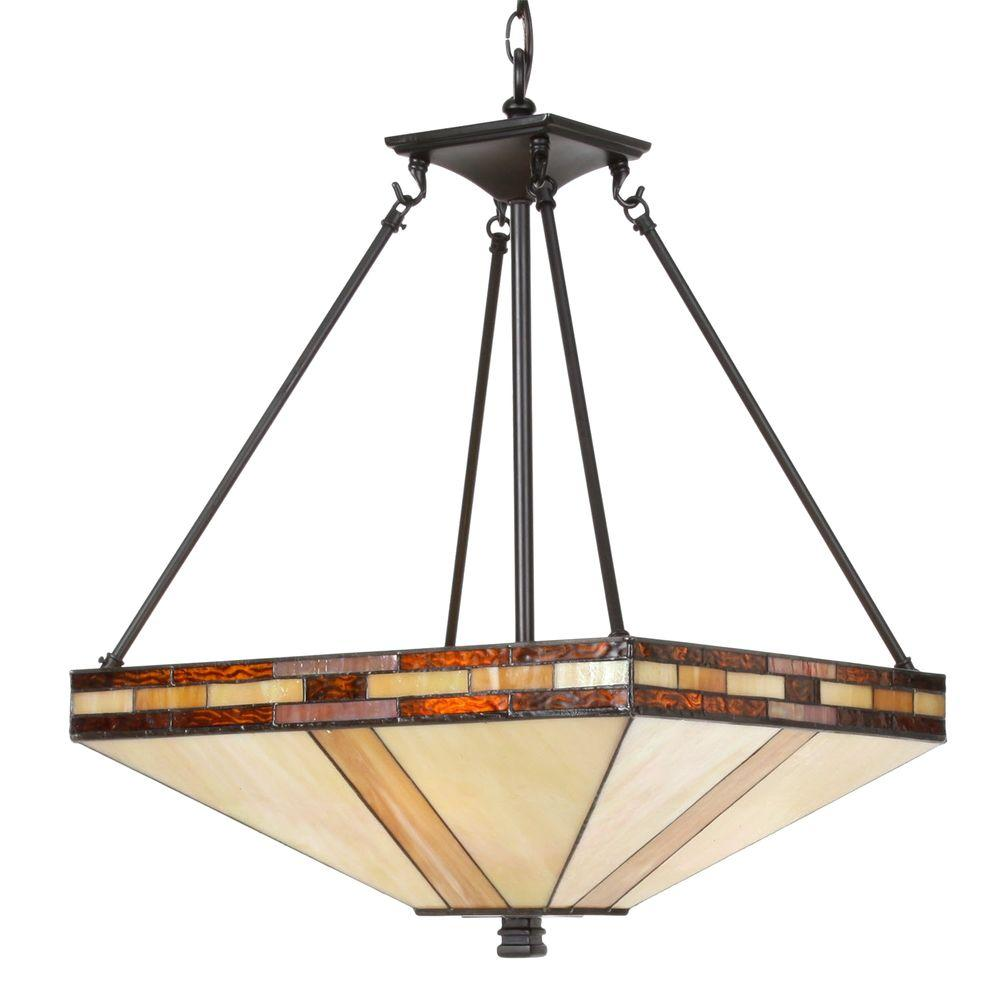 Springdale Lighting Mission 3-Light Antique Bronze Inverted Hanging Pendant Lamp