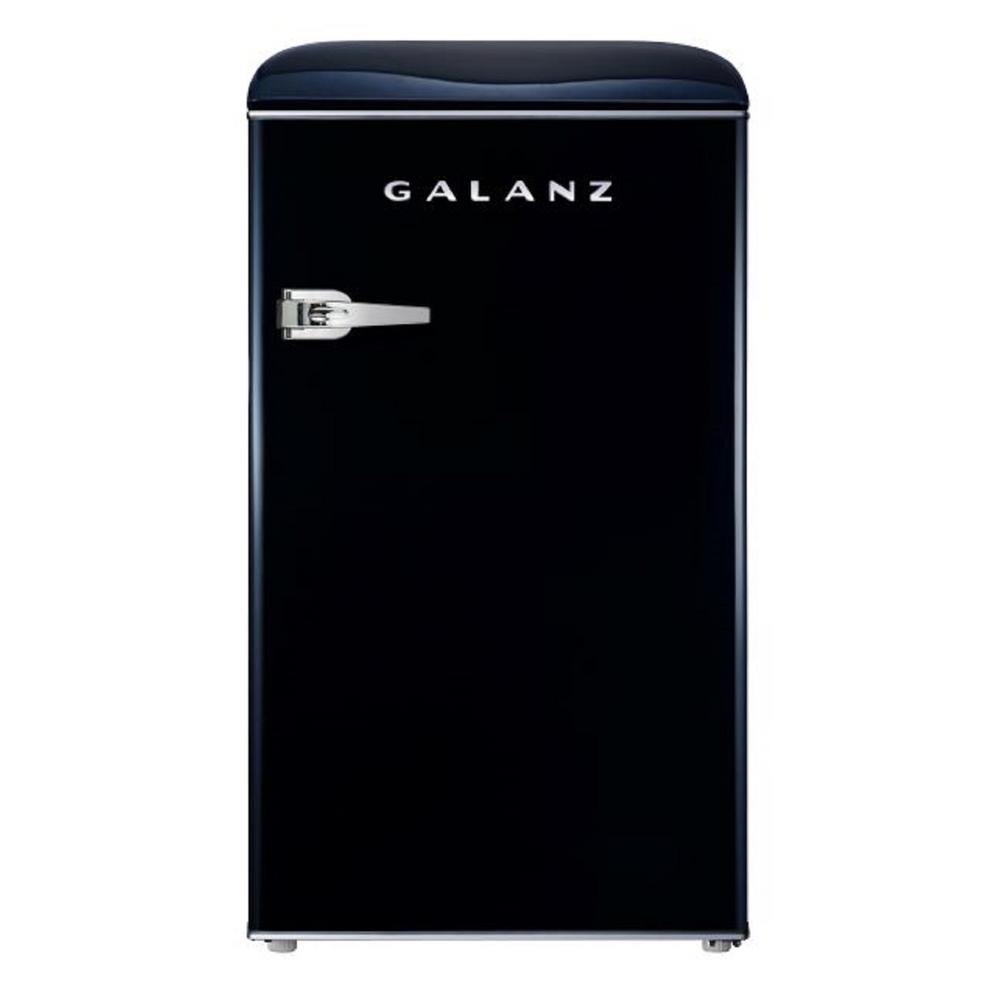 Galanz 3.5 cu. ft. Retro Mini Refrigerator Single Door Fridge Only in Black Galanz 3.5 cu. ft. Retro style compact refrigerator can store and keep cool snacks, beverages and more. Best of all, this refrigerator-freezer has the look and feel of the fabulous old days, but has the appeal of a modern appliance. Featuring an adjustable thermostat, separate freezer compartment, bright interior lighting and spacious, clear fruit and vegetable crisper, the unit also has removable shelf and door shelves. It is a fun and stylish addition to any kitchen, rec room or home office. Color: Black.