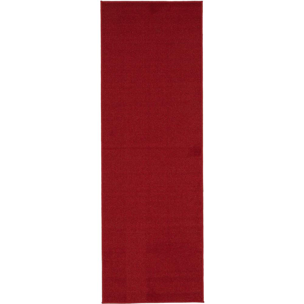 Ottohome Collection Carpet Solid Hallway Wedding Aisle Red Design 2 Ft 7 In X 12 Non Slip Runner