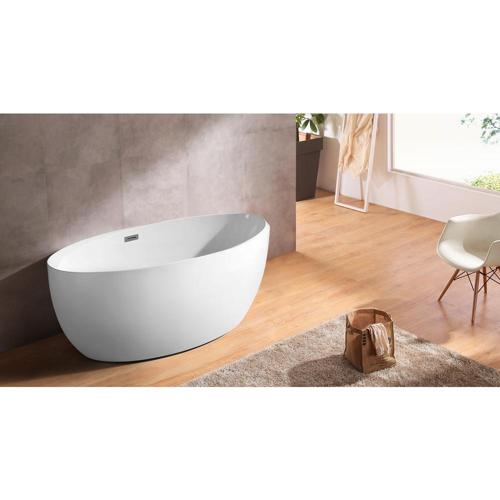 66.9 in. Acrylic Flatbottom Bathtub in White