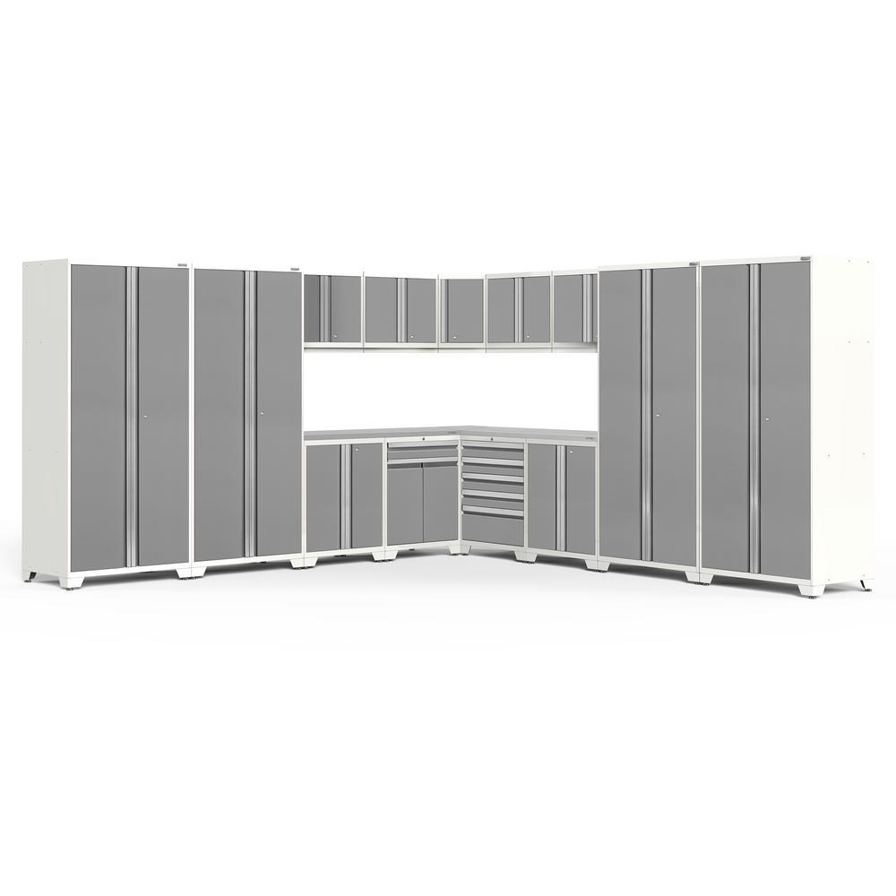 Pro 3.0 85.25 in. H x 304 in. W x 24 in. D 18-Gauge Welded Steel Garage Cabinet Set in Platinum (16-Piece)