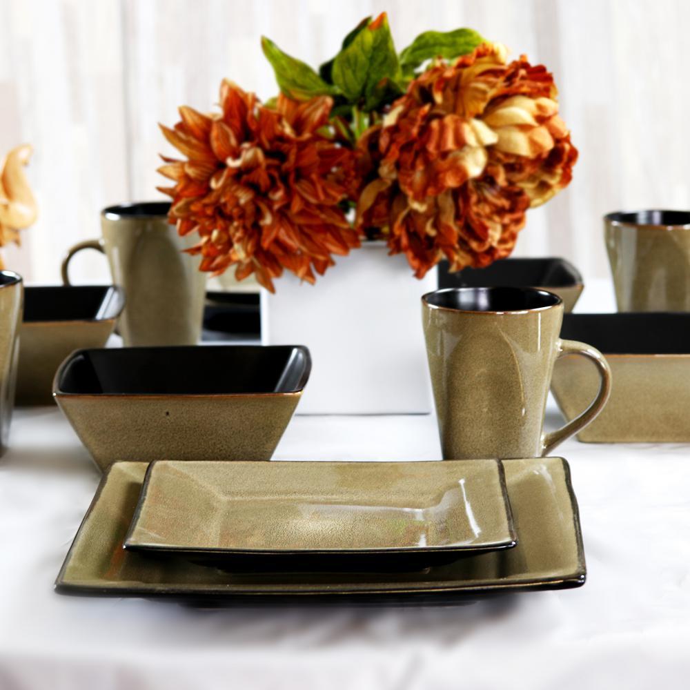 Kiesling 16-Piece Taupe Hard Square Dinnerware Set