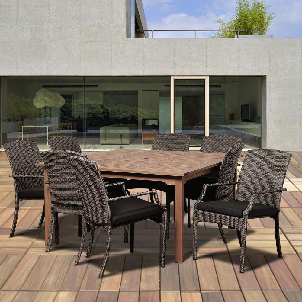 Dale 9-Piece Eucalyptus Square Patio Dining Set with Grey Cushions