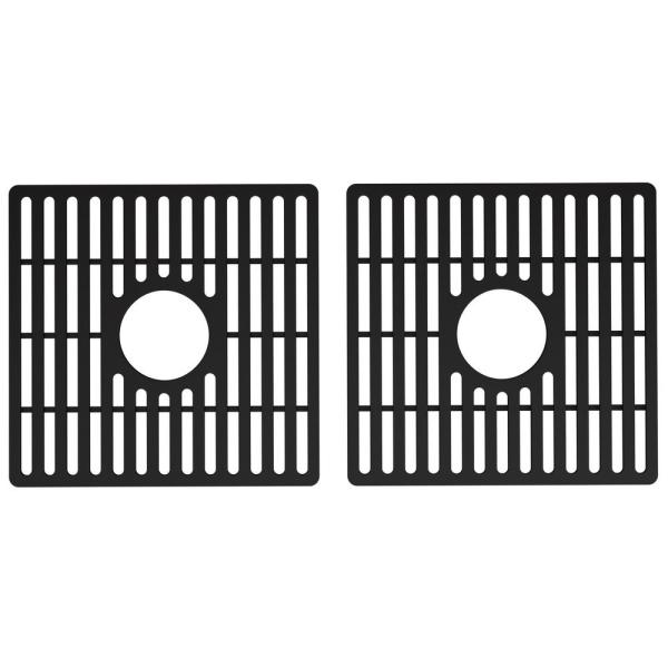 Silicone 15.13 in. x 14.75 in. Double Bowl Kitchen Sink Bottom Grid in Matte Black