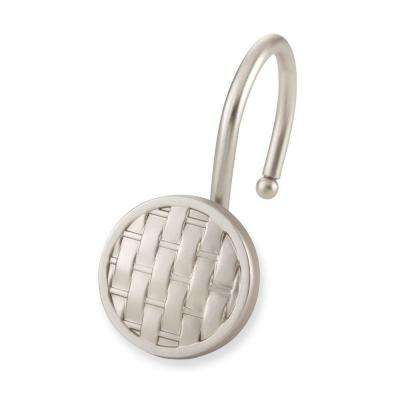 Woven Shower Hooks in Brushed Nickel (12-Pack)