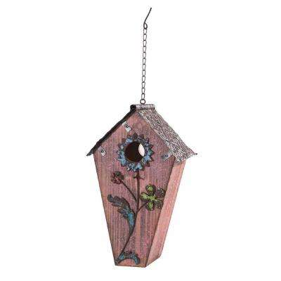 Wood Birdhouse Hand Painted with Flowers in Dusty Rose