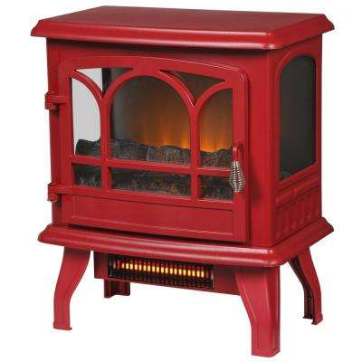 Kingham 1,000 sq. ft. Panoramic Infrared Electric Stove in Red with Electronic Thermostat