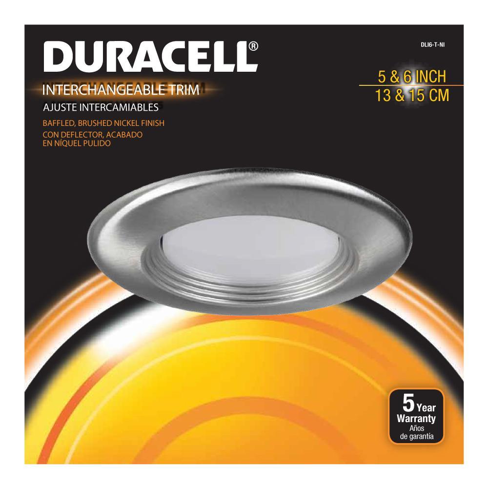 6 in. Brushed Nickel Recessed LED Baffled Trim