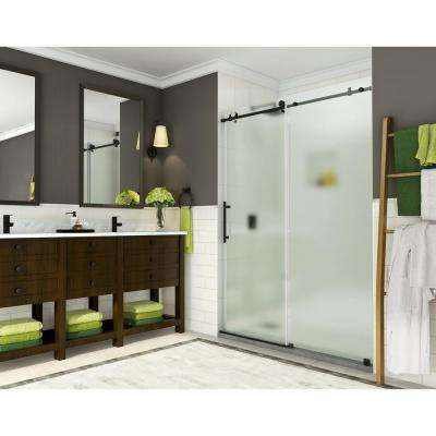 Coraline 56 - 60 in. x 76 in. Completely Frameless Sliding Shower Door w/ Frosted Glass in Oil Rubbed Bronze